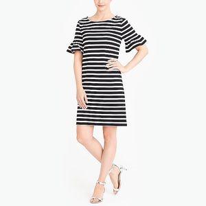 J.Crew Factory striped ruffle sleeves dress
